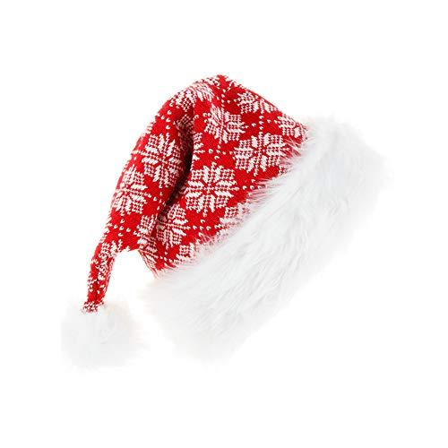 TDCQ Gorro de Navidad Tejido,Gorro de Papá Noel de Felpa,Gorro de Papá Noel,Sombrero de Santa de Navidad,Sombrero de Navidad a Rayas