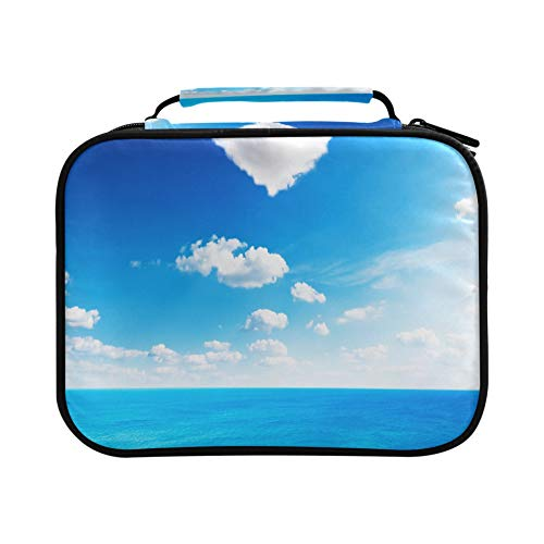 Pencil Box Blue Sea Under Clouds Sky With Heart Shape Cloud B Zippered Pencil Case Holds 96 Pencils Or 64 Gel Pens Large Capacity Zippered Large Pencil Bags With Zipper Great Gift For Student & Arti