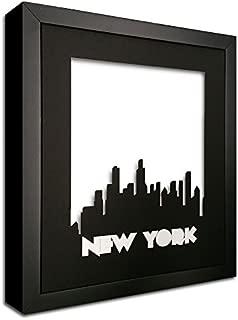 New York Skyline Precision Cut in a Black Photo Mat - in a Black Wood Frame