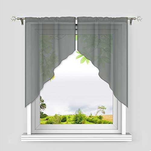 Heichkell Voile Scheibengardine 2-Teilige Kleinfenster Gardine mit Tunnelzug Bogen Kurzstores Küchengardinen leichte Qualität Grau BxH 71x91 cm (Jedes Stück)