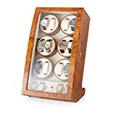 12 Watch Winder with 4 Storage Slots and Faux Leather Interior (Burl Wood + Beige)