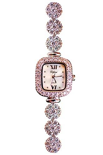 CHXISHOP Reloj de pulsera de la mano del reloj gótico de la manera con el movimiento del cuarzo de la moda del reloj cuadrado de la manera del reloj de, dorado