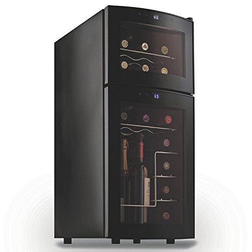 Wine Enthusiast 272031910 Silent 21 Bottle Dual Zone Wine Refrigerator with Curved Doors, Small, Black