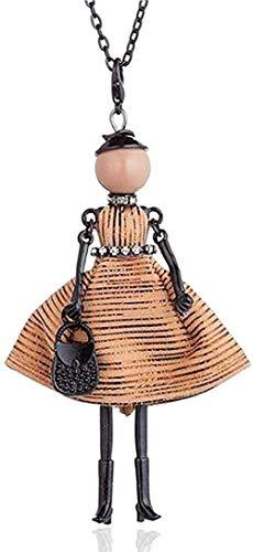 ZGYFJCH Co.,ltd Collar Mujer Collar Collar Moda Vintage Rayas Floral Bordado Vestido Muñeca Gargantilla Grande Collar para Mujer Cadena Larga Collar Llamativo y Colgante Joyería Regalo