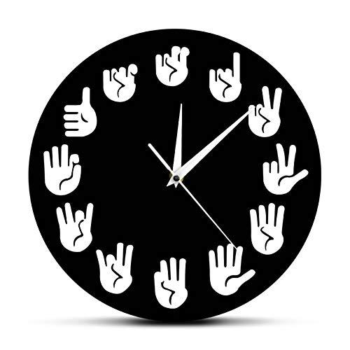 yage Reloj de Pared con lenguaje de señas ASL Gesture Reloj Moderno Reloj Equivalente a Las Horas Fabricado Exclusivamente para sordos-mudos