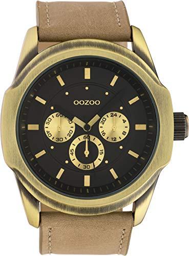 Oozoo Herrenuhr Chrono Look mit Lederband 46 MM Schwarz/Sand C10318