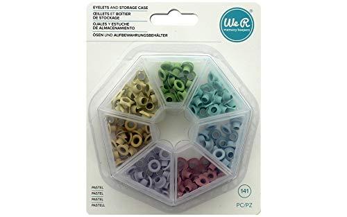 We R Eyelets 141 - Ojales y estuche de almacenamiento, Colores pastel