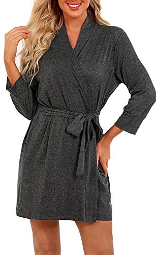 heekpek Albornoz de verano para mujer, cuello en V, de algodón, manga 3/4, bata de sauna, kimono con cinturón, camisón para novia gris oscuro S