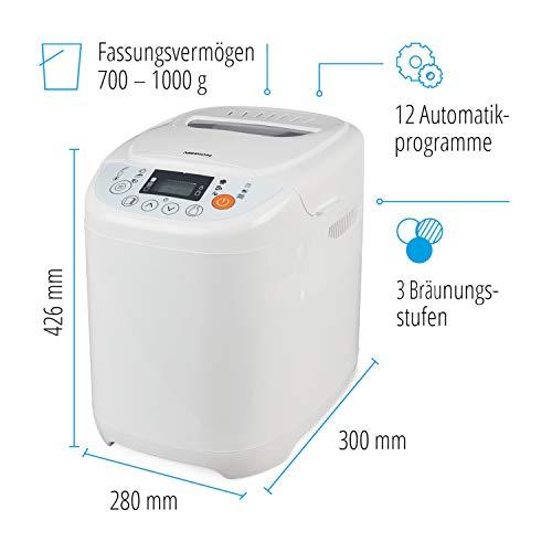 MEDION MD 14752 Brotbackautomat 580 Watt, 700-1000g, 12 Backprogramme, 3 versch. Bräunungsgrade, Warmhaltefunktion weiß