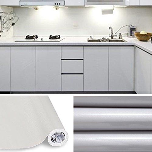 KINLO - Klebefolien - Grau -5 * 0.4/0.6/0.8m glanz -Möbelfolie - 13,99/19,99/23,99 € -11 Farben- PVC-Klebefolie Küchenschrank Aufkleber Selbstklebend Küchenfolie Deko Plotterfolie - MIT GLITZER…