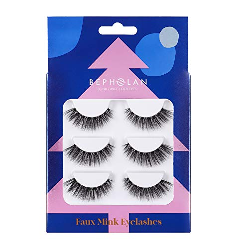 BEPHOLAN 3 Pairs False Eyelashes Synthetic Fiber Material  3D Mink Lashes  Cat Eyes Look  Reusable  100% Handmade & Cruelty-Free  Chistmas Limited Collection XMZ91