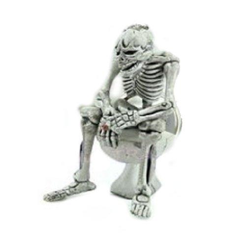 Familienkalender Skelett sitzt auf Klo Toilette mit Langeweile Schlüsselanhänger   Geschenk für Männer   Lustiges Geschenk   Skull   Knochen  