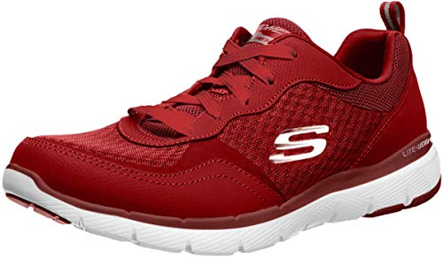 Skechers Damen Flex Appeal 3.0-go Forward Sneaker,Burgundy Leather/Mesh/Off White Trim,41 EU