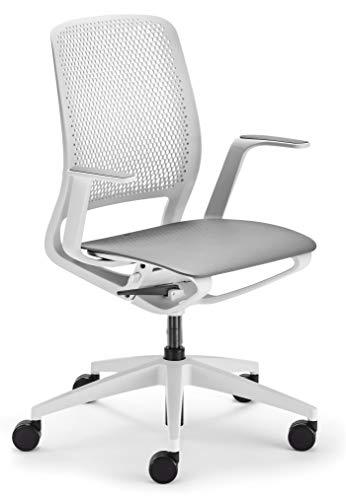 sedus se:motion Bürostuhl Design Drehstuhl Bürodrehstuhl modern Büro Stuhl Drehsessel (lichtgrau/weiß | ohne Polster | mit Armlehnen)