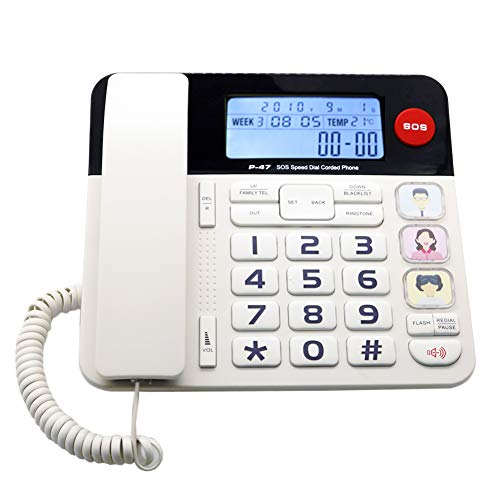 Home Landline Phone with Caller ID, HePesTer P-47 Upgrade Corded Desk Phone for Home with Luminous&Large Button/Clear Volume/SOS Emergency Button/Speed Dial Memory/Blacklist