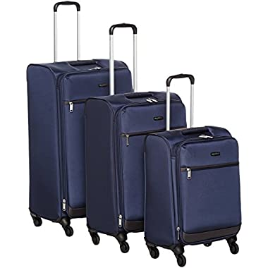 AmazonBasics Softside Spinner Luggage - 3 Piece Set (21 , 25 , 29 ), Navy Blue
