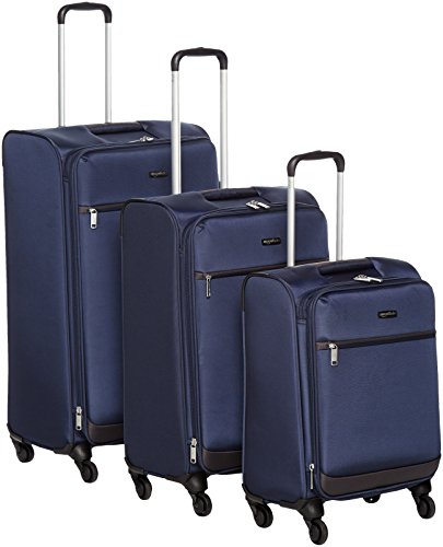 A good well made navy blue luggage set. This tough soft fabric set are easily expandable to get more things in.