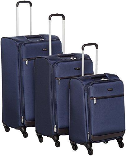 Amazon Basics Juego de maletas blandas giratorias, (53cm, 64cm, 74cm), Azul marino