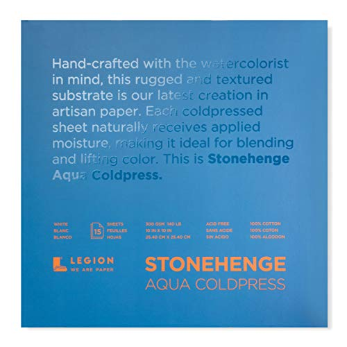 Legion Stonehenge Aqua Watercolor Block, 140lb. Cold Press, 10 by 10 inches, White, 15 Sheets (L21-SQC140WH1010)