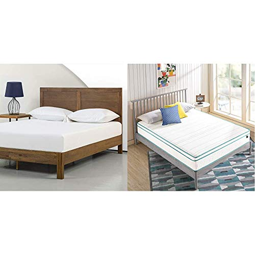 Zinus 12 Inch Acacia Wood Platform Bed with Headboard with ZINUS 10 Inch Memory Foam Spring Hybrid Mattress