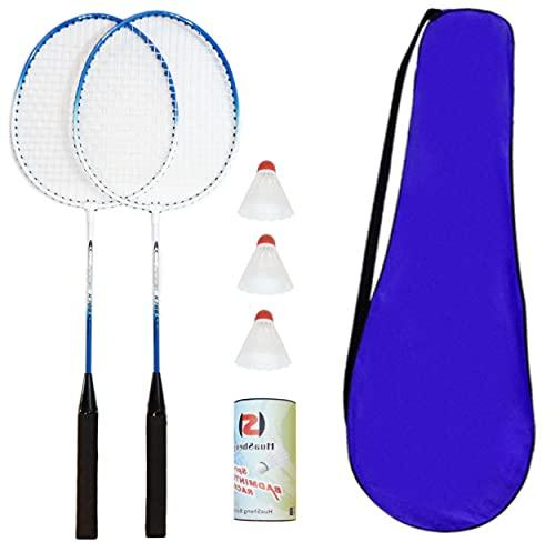 O&W Security Lot de 2 raquettes de badminton avec 3 balle à ressort et sac à raquettes pour toute la famille, vacances, jardin, plage