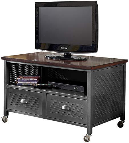 Hillsdale Furniture Urban Quarters 2 Drawer Metal Media Chest, Stand, Black Steel/Antique Cherry
