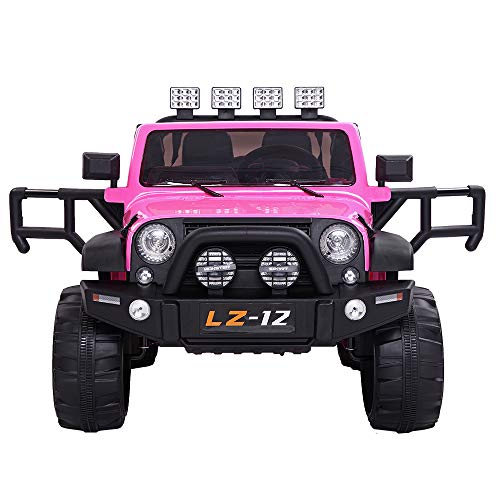 VALUE BOX Safety 12V Electric Two Seaters Ride On Car, Remote Control Kids Toddler Ride On Cars Motorized Vehicles Toy Car, Wheels Suspension, Seat Belts, LED Lights and Horn (Pink)