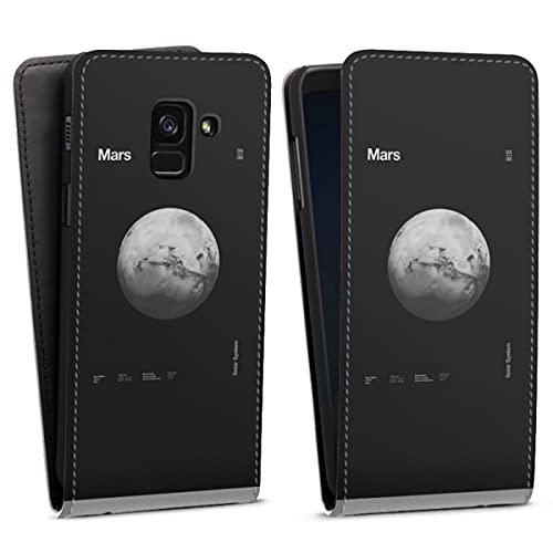 DeinDesign Flip Hülle kompatibel mit Samsung Galaxy A8 Duos 2018 Tasche Weiß Hülle Planet Men Style Space