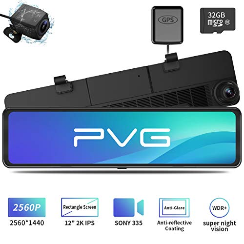 Mirror Dash Cam Car Backup Camera 12' 2K IPS Full Touch Screen 2560P+1080P Resolution Front and Rear View Dual Lens, Adjustable Wide Angle, WDR Night Vision, Parking Monitor, GPS & 32GB Card Included