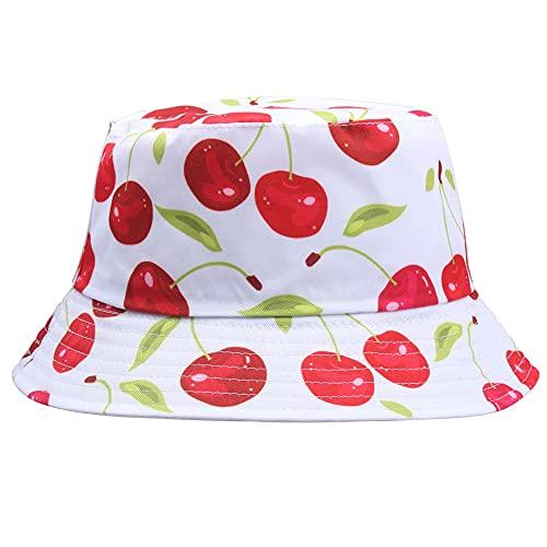 GPQHSM Gorra Limón Impreso Gorras para Mujer Hombres Hombres Piña Cereza Verano Sol Panamá Caps Caps Playa Pesca Pesca Pescador Hat 2021 Sombreros y Gorras (Color : Cherry03, Size : 56-58cm)