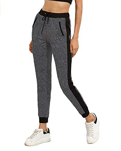 SUNNYME Latzhose Damen Herbst Jumpsuits mit Taschen Kariert Hosen Casual Overalls Größe Playsuit Lang (Grau-1, XL)