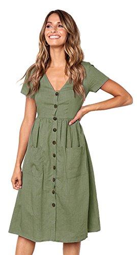 Deman Kleider Beachwear High Taille Dress Frauen Casual Kurzarm V-Ausschnitt Button Down Sommer Swing Midi Kleid Taschen Strand Salbeigrün M