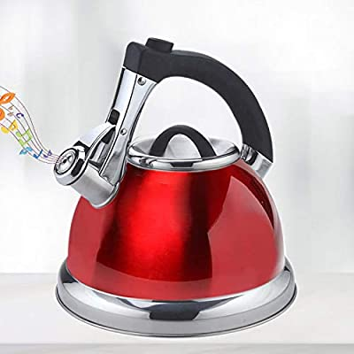 Whistling Tea Kettle Premium Large Teapot 3.3 Quart Stainless Steel Water Pot for Preparing Hot Water Fast for Coffee,Tea pots for Stove top Whistle Type all Heat Sources Brushed Tea Kettle?Red)