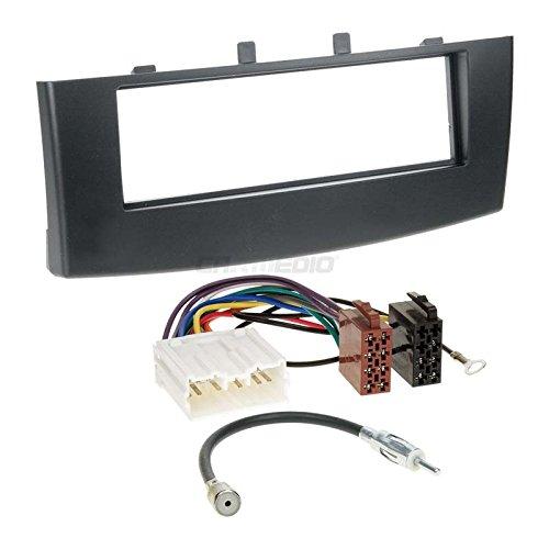 Carmedio Mitsubishi Colt Z30 08-12 1-DIN Autoradio Einbauset in original Plug&Play Qualität mit Antennenadapter Radioanschlusskabel Zubehör und Radioblende Einbaurahmen schwarz
