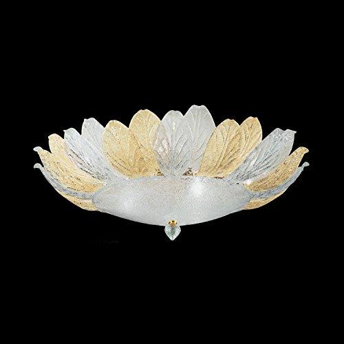 Foglia Murano Glas Deckenleuchte weiß transparent | Handgefertigt in Italien | Deckenlampe Klassisch Dimmbar | Lampe E14