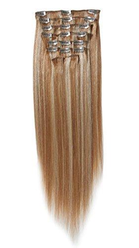 45,7 cm Remy 100% de cheveux humains longue droite Clip Extension dans/sur 120 g 10pieces (-Chocolate 4 # brun)