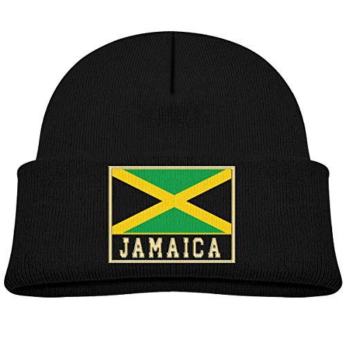 Baby Jongens Kids Meisjes Winter Hoed Noord en Zuid-Amerika Vlag Jamaica Gebreide Hoed Warm Peuter Cap Zwart