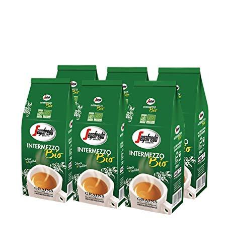 Segafredo Zanetti - Café en Grains Bio Intermezzo - Authentique Espresso Italien - Intense et Équilibré - Arabica et Robusta Issus de l'Agriculture Biologique - 6 Paquets de 500 grammes