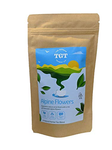 TGT 13 Alpine Flowers - Traditional German Herbal Tea - Premium & Natural (15 Tea Bags, Whole Leaves & Flowers) (2 Pack (30 Tea Bags))