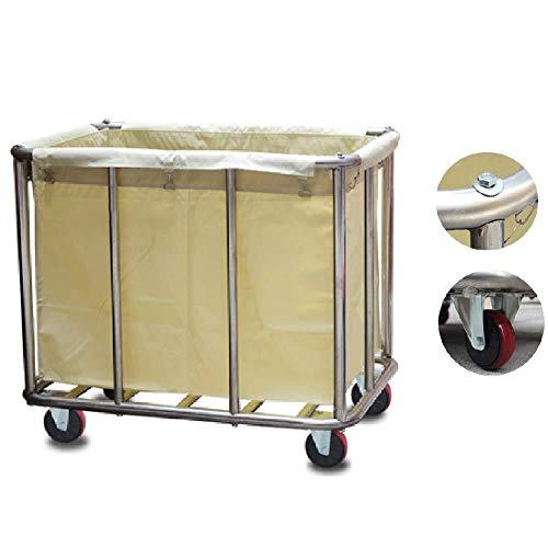 Wasserij sorteren car Wasserij Sorter winkelwagen Rolling met wieltjes, roestvrijstalen Commercial wasmand Linnen auto met verwisselbare Bags Dienst rolwagen (Color : Beige)
