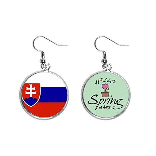 Slowakei Nationalflagge Europa, Länderdekoration, baumelnder Ohrring für Frühling, Schmuck