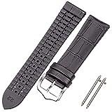 LINMAN Pulsera de Correa de Reloj de Cuero de Vaca y Silicona 18 20 22mm Hombres Mujeres Impermeable Transpirable Relojes de Relojes Relojes Accesorios de Reloj (Band Color : Black, tamaño : 18mm)