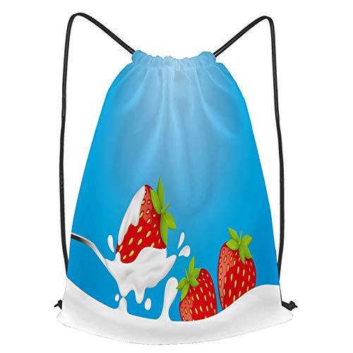 fudin Unisex Wasserdicht Kordelzug Rucksack Erdbeersilberlöffel Joghurtmilchspritzer Turnbeutel Sporttasche für Yoga Freien Schule Strand Schwimmen