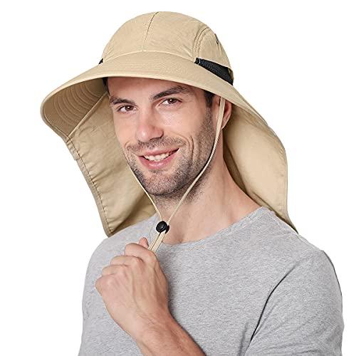 Sombreros para el Sol Hombre, Gorra Transpirable ala Ancha protección UV Protege Cuello Cara, Sombrero Jardin Hombre Adecuado para Trekking (Caqui)