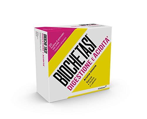 Biochetasi, Verdauung und Übersäuerung, 20 Tütchen Granulat zum Einnehmen, Zitronengeschmack | Gluten- und Laktosefrei.