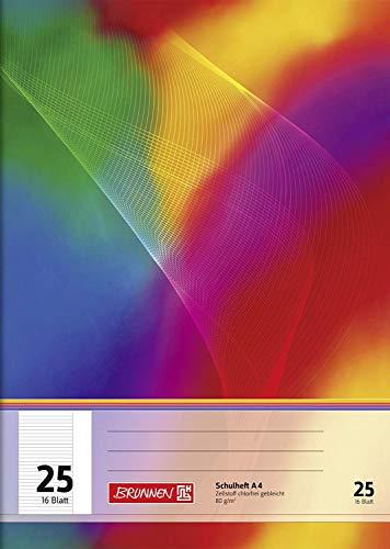Brunnen 104492502 Schulheft A4 (16 Blatt, liniert, mit Rand, Lineatur 25)
