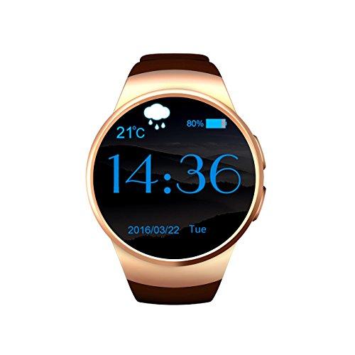 MidtenAshion Armbanduhr für Mann guideo18Armbanduhr Elegante Echtzeit-Anzeige WeChat/Facebook/Whatsapp, Bluetooth Call/Fernbedienung Kamera/Herz-Test mit SIM-Karte
