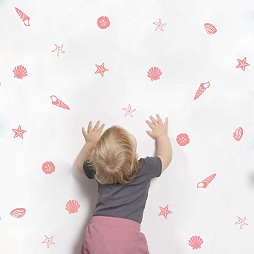 Sea Shell Wall Decals for Nursery Kids Scallop Shell Wall Decor Starfish Conch Wall Stickers Beach Theme Removable Stickers for Girls Nursery Room DDK16 ( Pink )