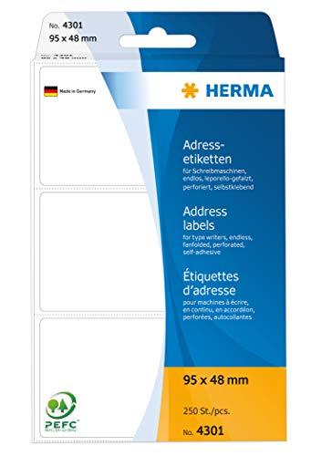 HERMA 4301 Adressaufkleber für Schreibmaschinen, endlos (95 x 48 mm, Papier, matt, leporello-gefalzt) selbstklebend, permanent haftende Adressetiketten, 250 Klebeetiketten, weiß