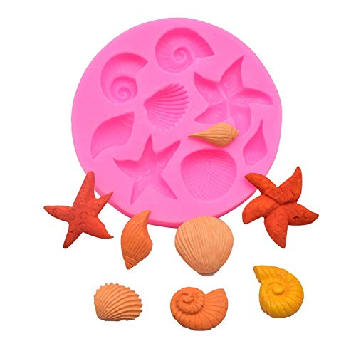 Baking mould Sea Conch Starfish Shell Cake Decoration Tools DIY Fondant Cake Sugarcraft Candy Silicone Molds Creative DIY Chocolate Mold (Color : Random)